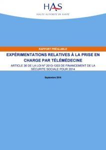 Rapport préalable expérimentations relatives à la prise en charge de la télémédecine Haute Autorité de Santé HAS